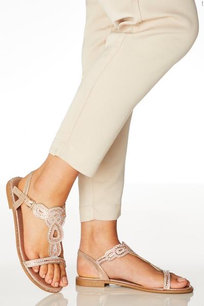Wide Fit Rose Gold Diamante Sandals